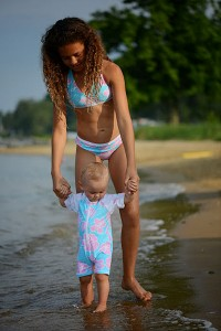 Snapper Rock hibiscus swimsuits for infants to tweens